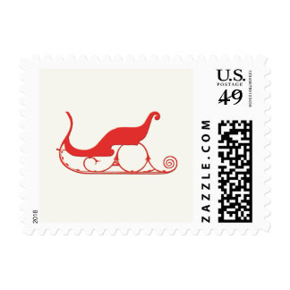 Vintage  Christmas Red Sleigh Holiday Postage Stamp