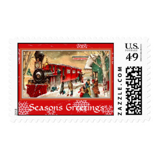Vintage Christmas Red Train at Station Postage