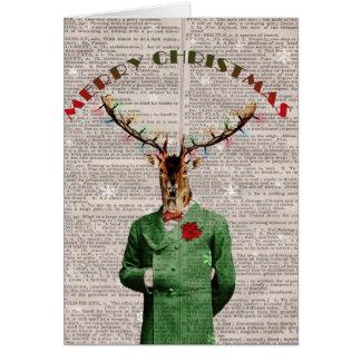 Vintage Christmas Reindeer Christmas Card