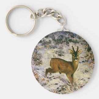 Vintage Christmas Reindeer in Snow Forest Winter Basic Round Button Keychain