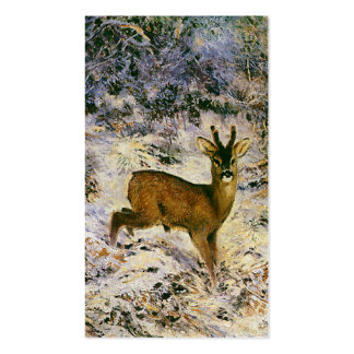 Vintage Christmas Reindeer in Winter Forst Snow Double-Sided Standard Business Cards (Pack Of 100)