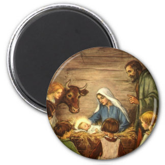 Vintage Christmas, Religious Nativity w Baby Jesus 2 Inch Round Magnet