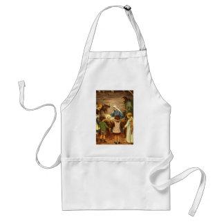 Vintage Christmas, Religious Nativity w Baby Jesus Adult Apron