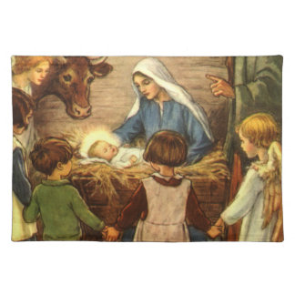 Vintage Christmas, Religious Nativity w Baby Jesus Cloth Placemat