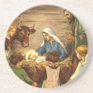 Vintage Christmas, Religious Nativity w Baby Jesus Drink Coaster