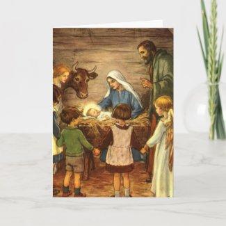 Vintage Christmas, Religious Nativity w Baby Jesus Holiday Card