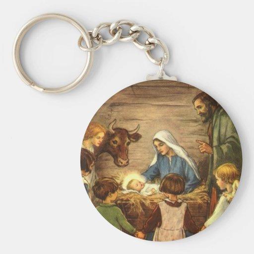 Vintage Christmas, Religious Nativity w Baby Jesus Basic Round Button Keychain