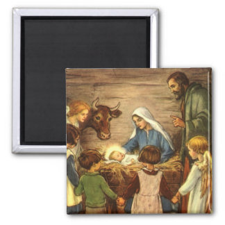 Vintage Christmas, Religious Nativity w Baby Jesus 2 Inch Square Magnet