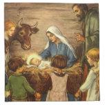 Vintage Christmas, Religious Nativity w Baby Jesus Cloth Napkins