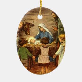 Vintage Christmas, Religious Nativity w Baby Jesus Double-Sided Oval Ceramic Christmas Ornament