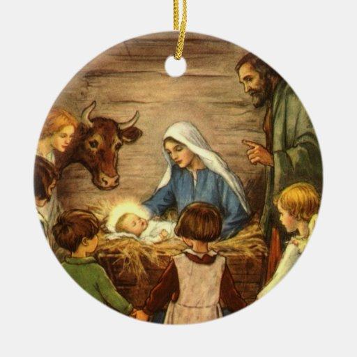 Vintage Christmas, Religious Nativity w Baby Jesus Double-Sided Ceramic Round Christmas Ornament