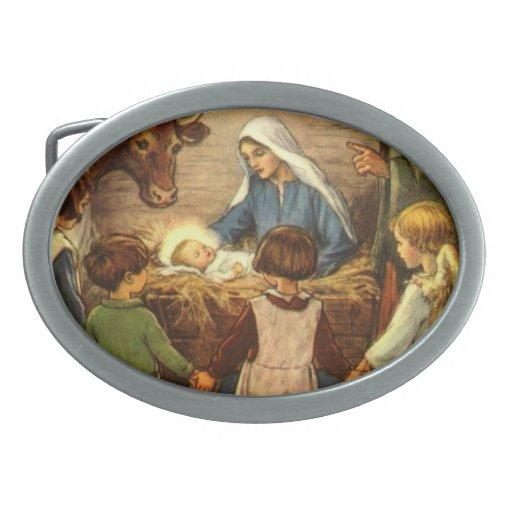 Vintage Christmas, Religious Nativity w Baby Jesus Oval Belt Buckle