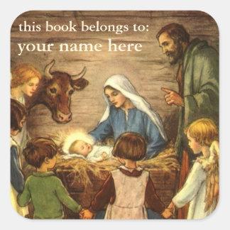 Vintage Christmas, Religious Nativity w Baby Jesus Square Sticker