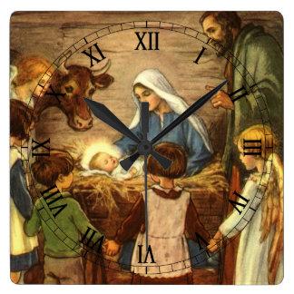 Vintage Christmas, Religious Nativity w Baby Jesus Square Wall Clock