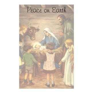 Vintage Christmas, Religious Nativity w Baby Jesus Stationery