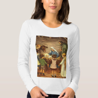 Vintage Christmas, Religious Nativity w Baby Jesus T Shirt