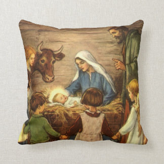 Vintage Christmas, Religious Nativity w Baby Jesus Throw Pillow