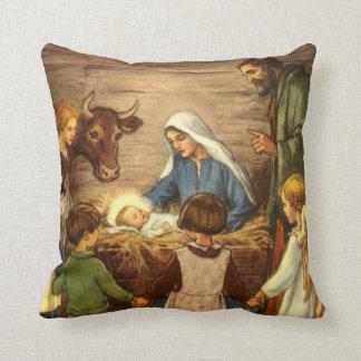 Vintage Christmas, Religious Nativity w Baby Jesus Throw Pillow