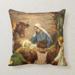Vintage Christmas, Religious Nativity w Baby Jesus Throw Pillows