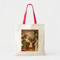 Vintage Christmas, Religious Nativity w Baby Jesus Tote Bag