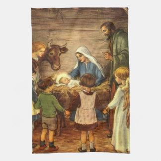 Vintage Christmas, Religious Nativity w Baby Jesus Towel
