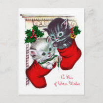 Vintage Christmas retro cat Holiday postcard