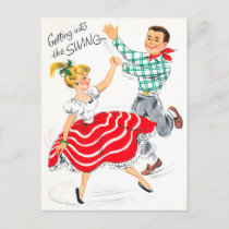 Vintage Christmas retro couple Holiday postcard