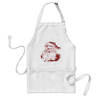 Vintage Christmas, Retro Jolly Santa Claus in Red Adult Apron