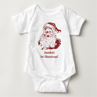 Vintage Christmas, Retro Jolly Santa Claus in Red Baby Bodysuit