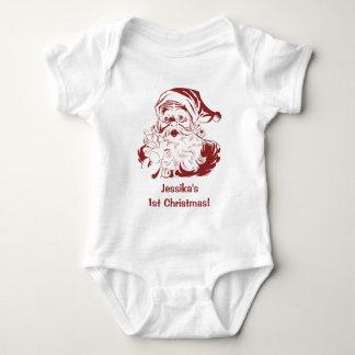 Vintage Christmas, Retro Jolly Santa Claus in Red Baby Bodysuit