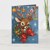 Vintage Christmas retro reindeer add message card