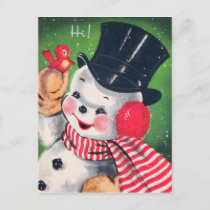 Vintage Christmas retro snowman Holiday postcard