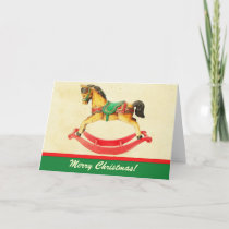 Vintage Christmas Rocking Horse Greeting Card