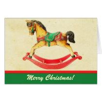 Vintage Christmas Rocking Horse Greeting Card
