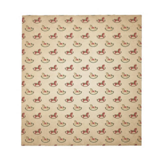 Vintage Christmas Rocking Horse Pattern Notepad