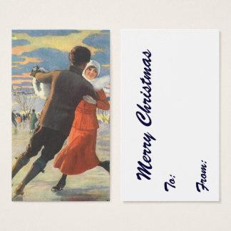 Vintage Christmas, Romantic Couple Ice Skating Business Card