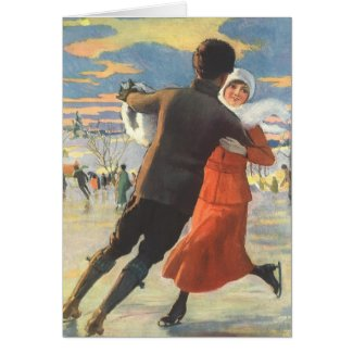 Vintage Christmas, Romantic Couple Ice Skating Card