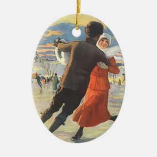 Vintage Christmas, Romantic Couple Ice Skating Ceramic Ornament