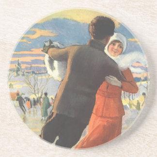 Vintage Christmas, Romantic Couple Ice Skating Coaster