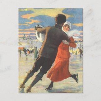 Vintage Christmas, Romantic Couple Ice Skating Holiday Postcard