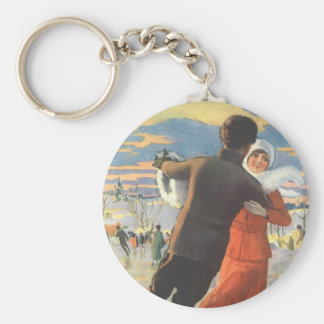 Vintage Christmas, Romantic Couple Ice Skating Keychain
