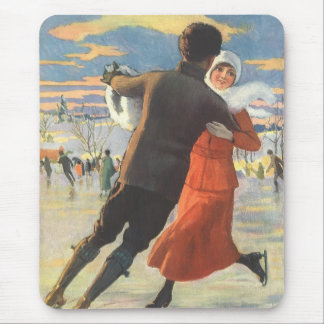 Vintage Christmas, Romantic Couple Ice Skating Mouse Pad