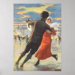 Vintage Christmas, Romantic Couple Ice Skating Poster