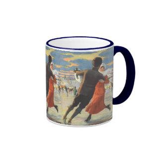 Vintage Christmas, Romantic Couple Ice Skating Ringer Mug