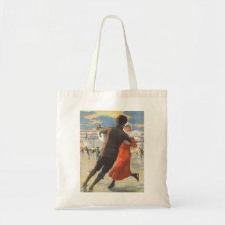 Vintage Christmas, Romantic Couple Ice Skating Tote Bag
