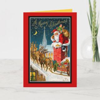 Vintage Christmas Rooftop Santa Sleigh Deers-Cards