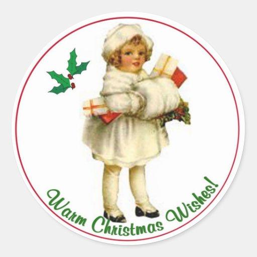 Vintage Christmas Round Seals #3 Classic Round Sticker