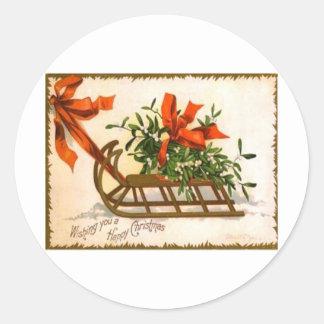 Vintage Christmas Round Stickers