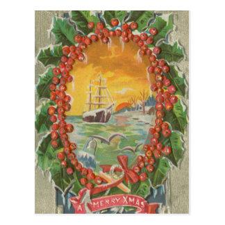 Vintage Christmas Sailboat Wreath Postcard