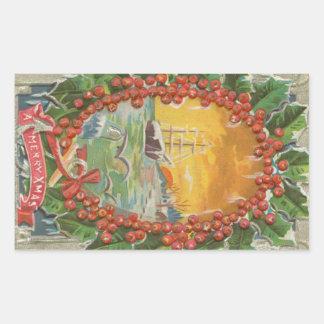 Vintage Christmas Sailboat Wreath Sticker